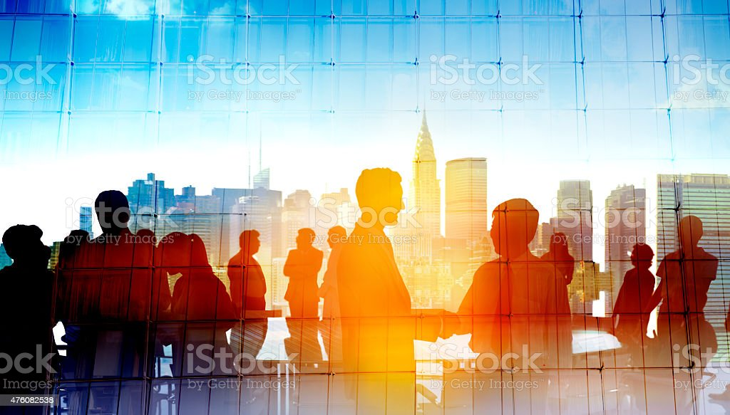 Back Lit Business People Cityscape Meeting Concept stock photo