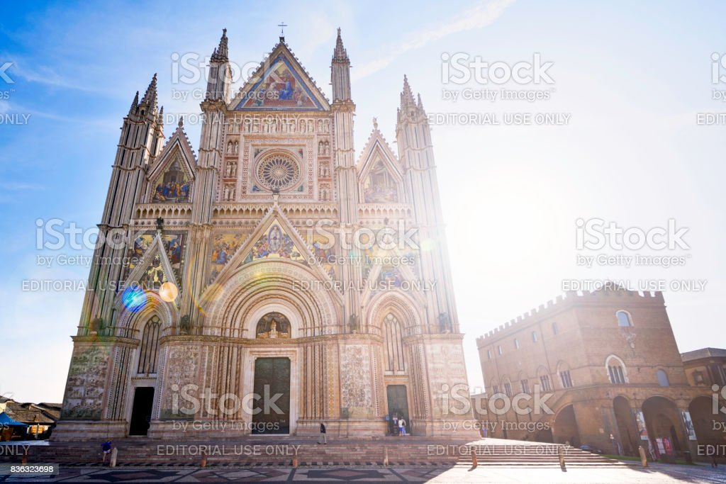 Back lit for the Cathedral in Orvieto stock photo