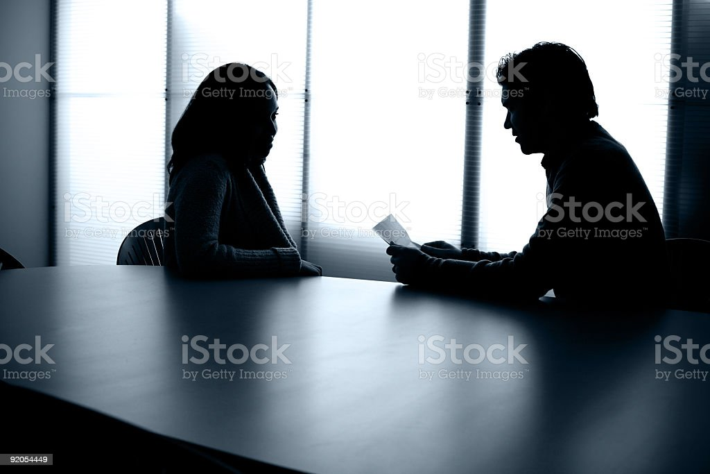 Back Lit People Sitting at Conference Table Office Meeting Interview royalty-free stock photo