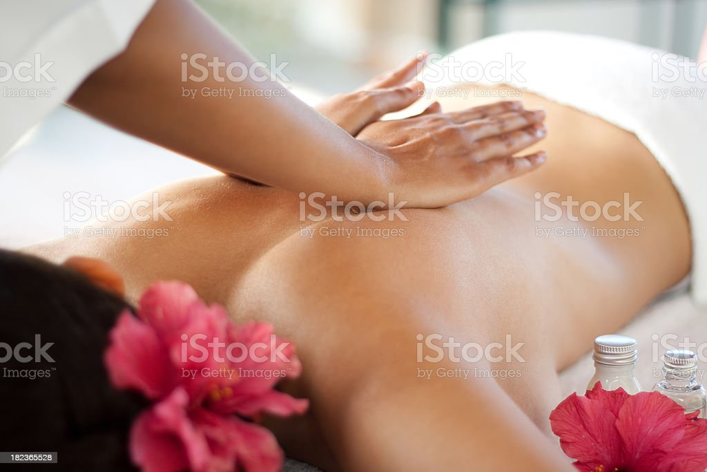 Back massage at the spa stock photo