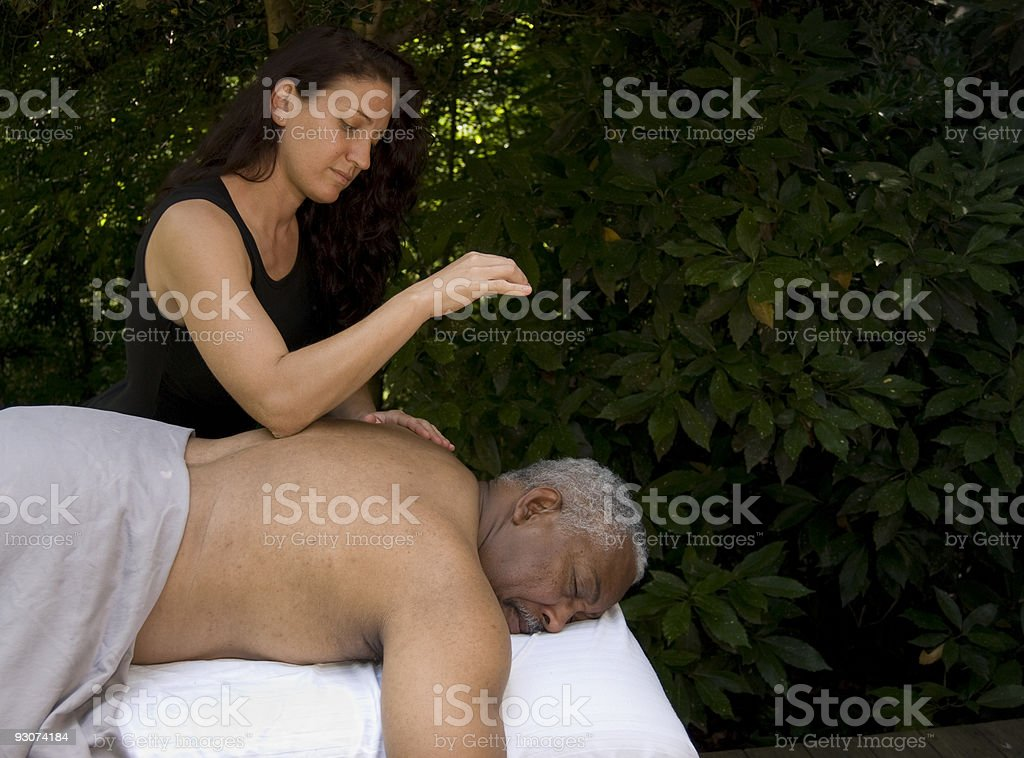 Back Massage in Health Spa Setting -096 royalty-free stock photo