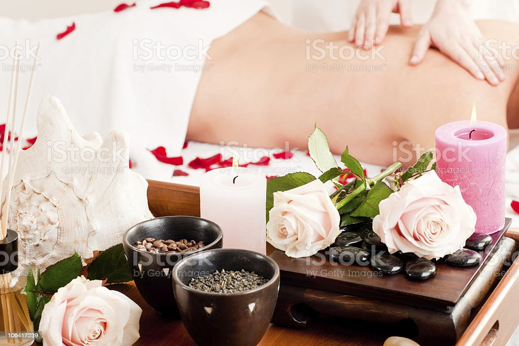 Back massage in Spa royalty-free stock photo