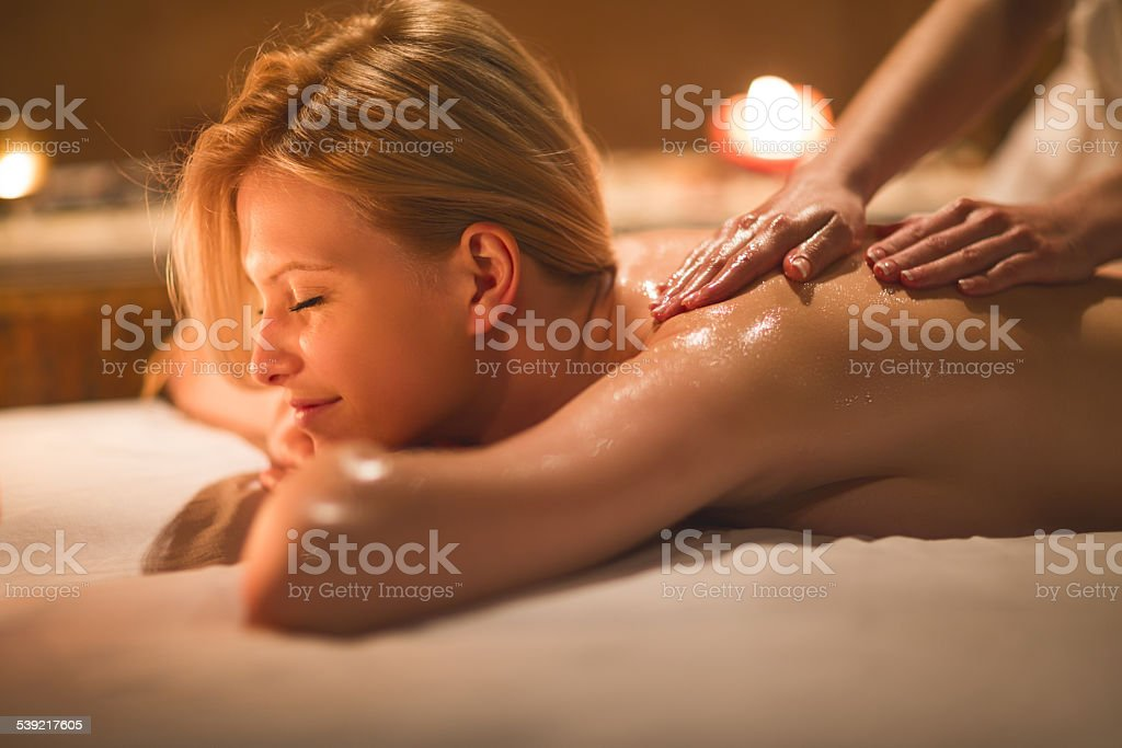 Back massage. stock photo