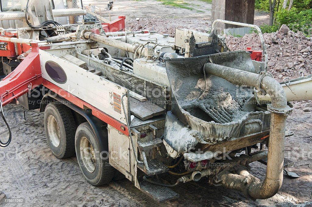 Back of a concrete pumping truck royalty-free stock photo