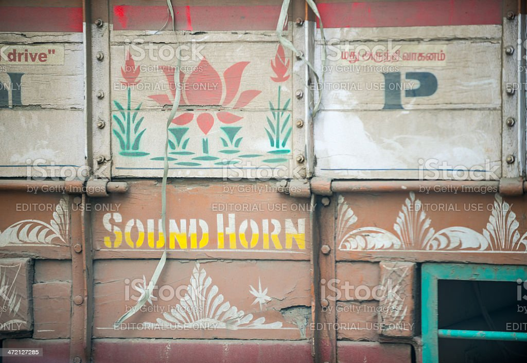 Back of a Decorated Truck with Sound Horn Direction royalty-free stock photo