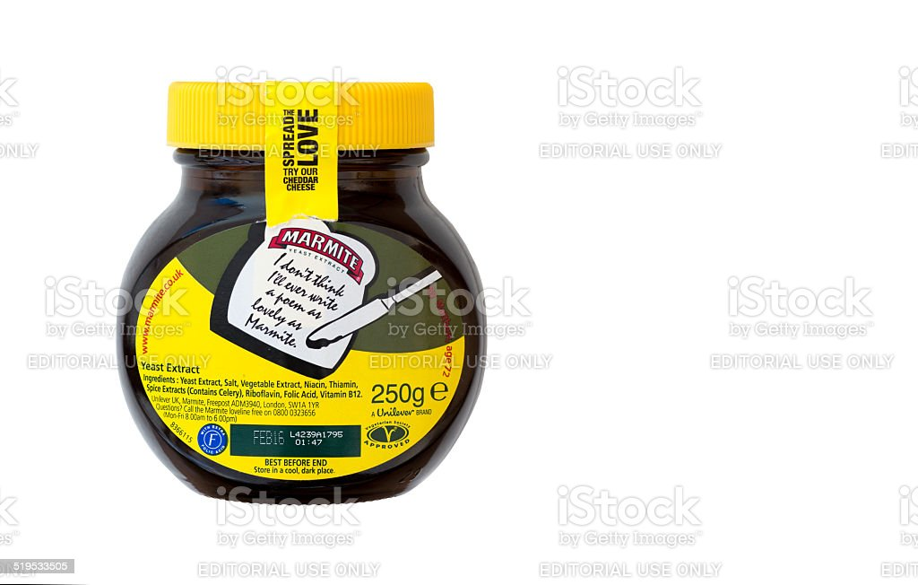 Back of a jar of marmite stock photo