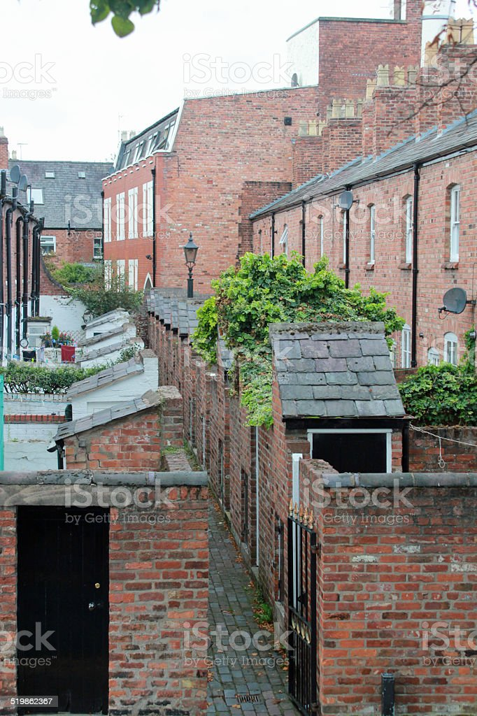 Back of a row of terraced houses stock photo