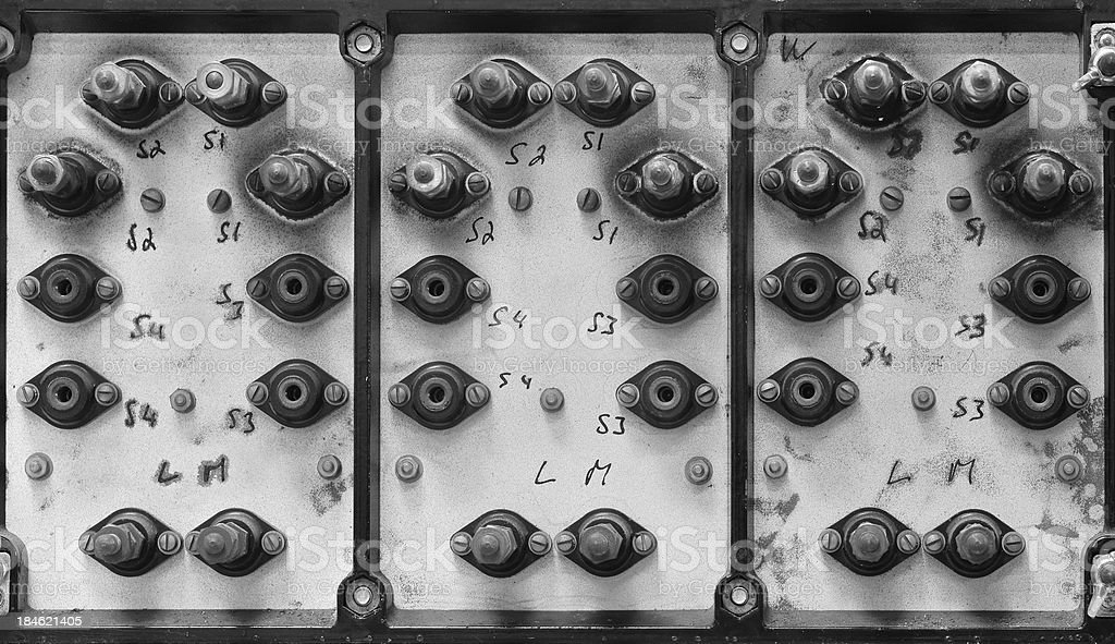 Back of an old electrical panel royalty-free stock photo