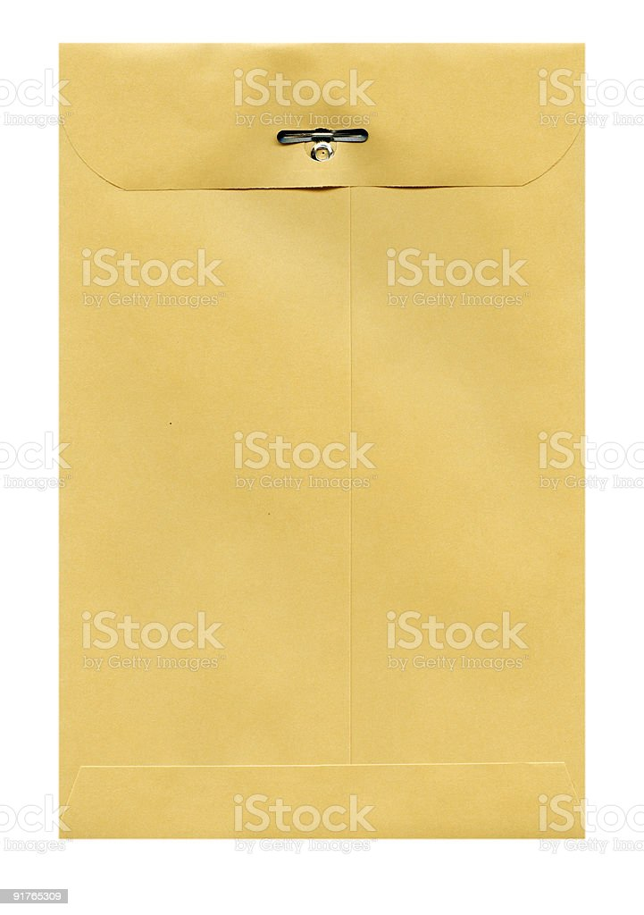 Back of Manilla Envelope with clip stock photo