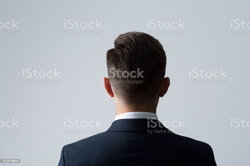Back of man's head stock photo