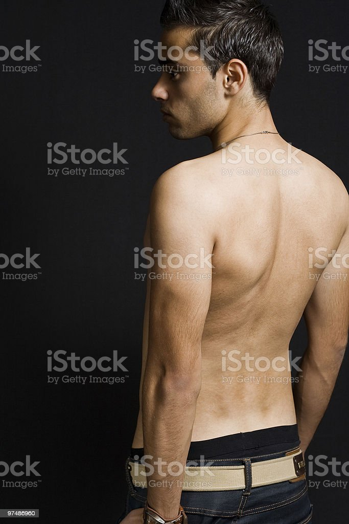Back of masculine sexy man royalty-free stock photo