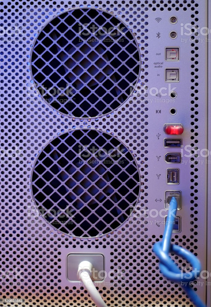 Back of modern computer. Slow network stock photo