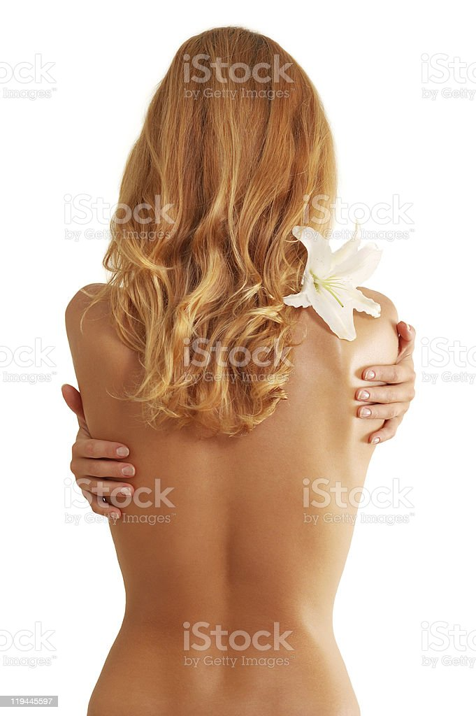 back of nude beautiful girl stock photo