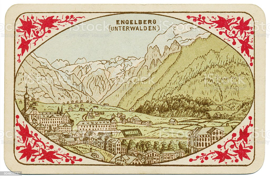 Back of playing card ace of spades Switzerland 1880 royalty-free stock photo