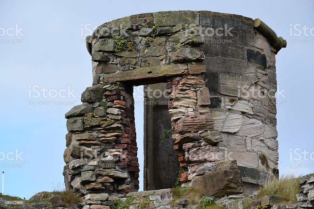 Back of ruined stone parapet stock photo