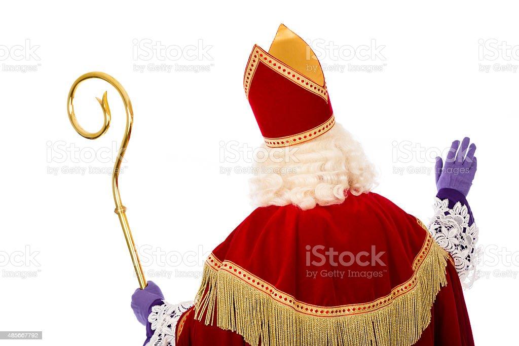 Back of Sinterklaas on white background stock photo