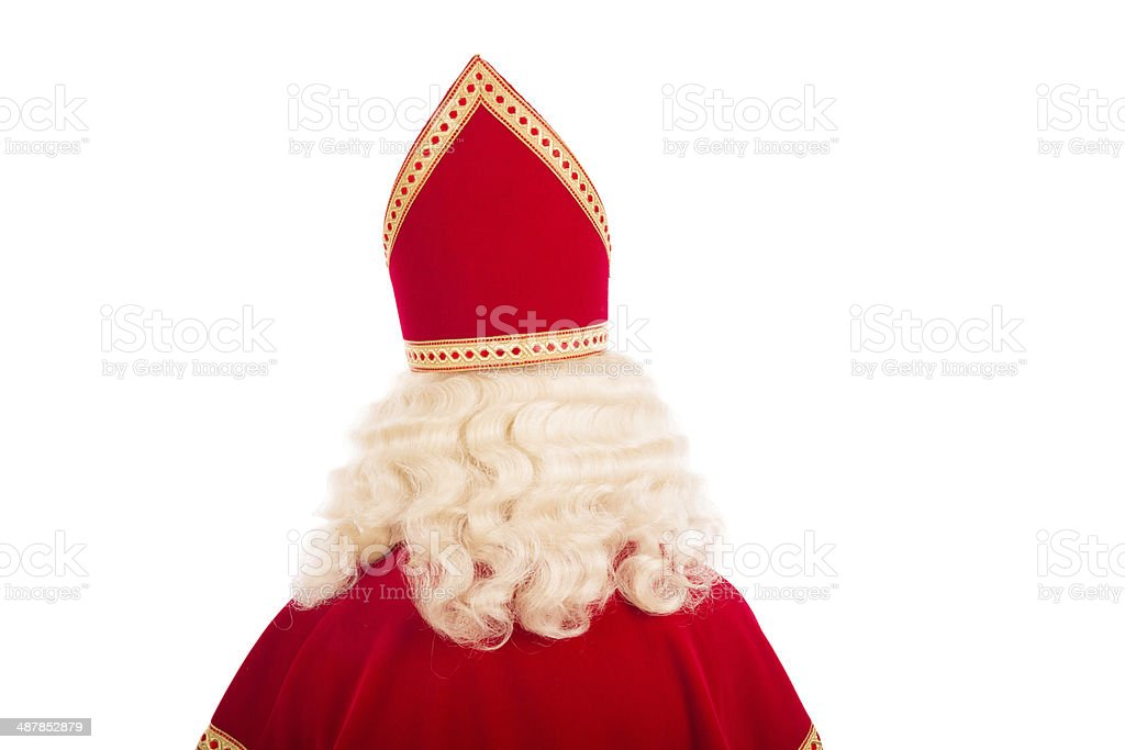 Back of Sinterklaas on white background stock photo