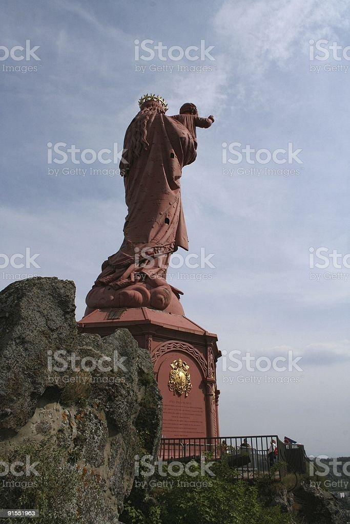 back of Statue Notre Dame de France stock photo