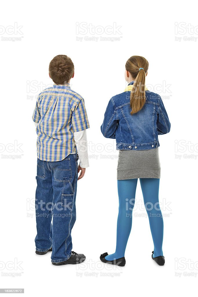 back of teenager couple stock photo