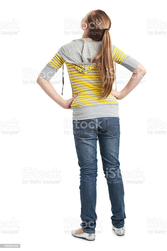 back of teenager girl stock photo