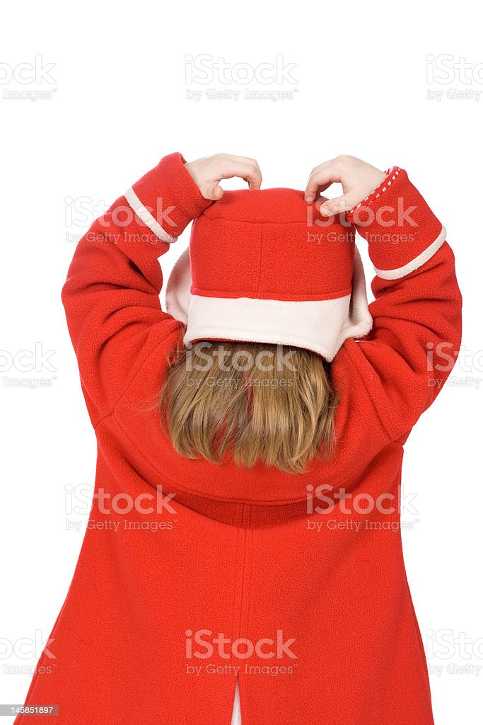 Back of the child in red royalty-free stock photo