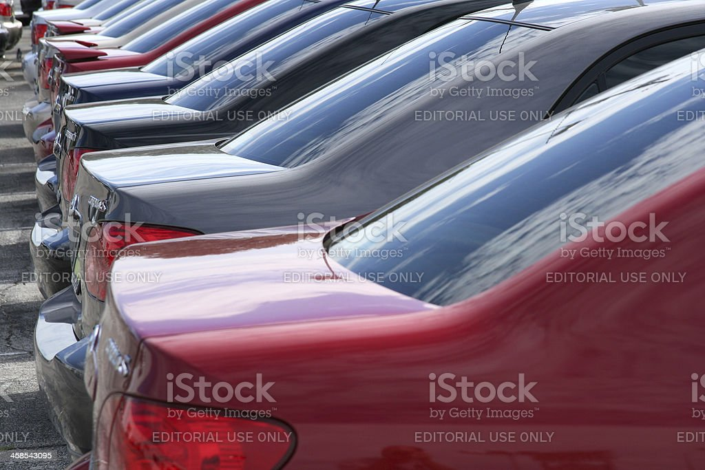 Back of Toyota Corollas on a New Car Dealership Lot stock photo