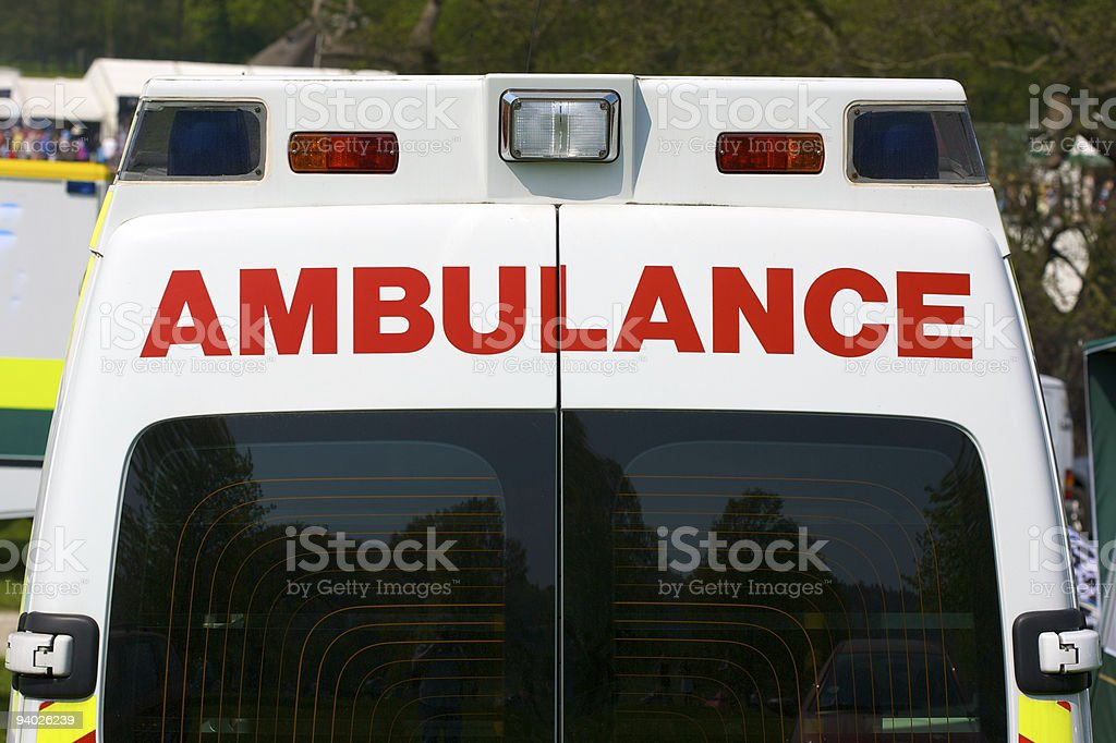 Back of UK Ambulance royalty-free stock photo