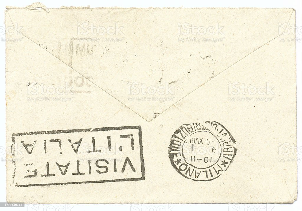 Back of vintage postmarked royalty-free stock photo
