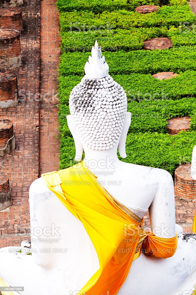 Back of white buddha stock photo