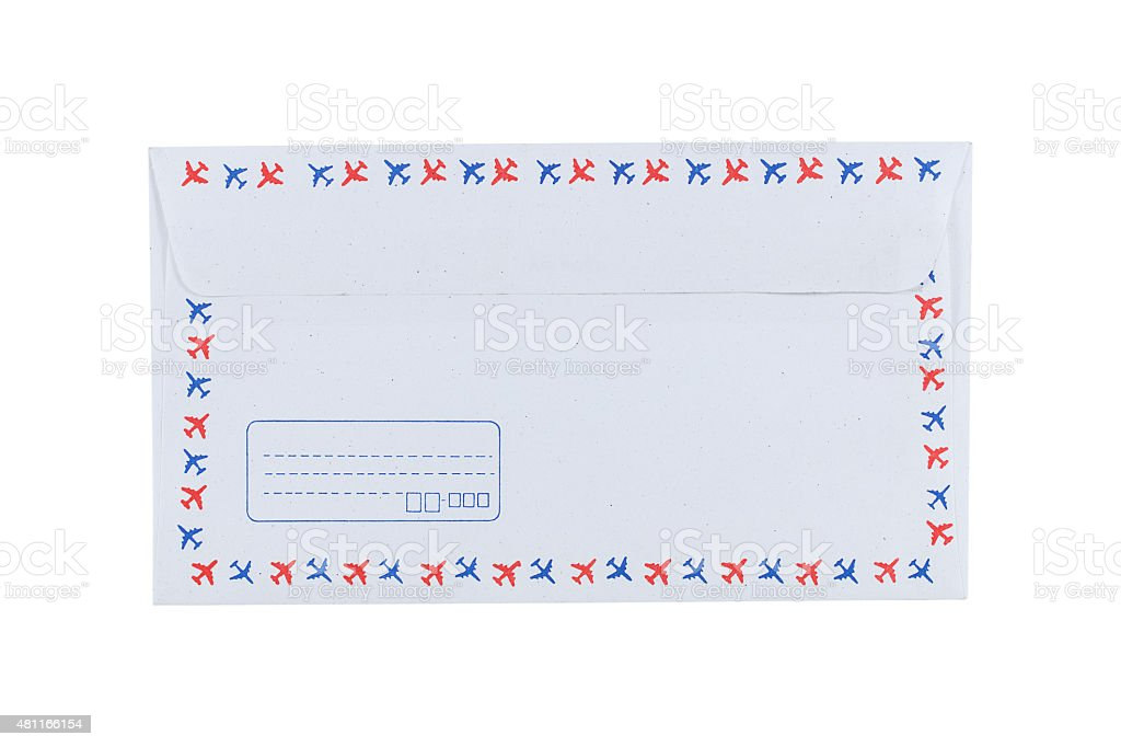 Back of white envelope isolated on white stock photo