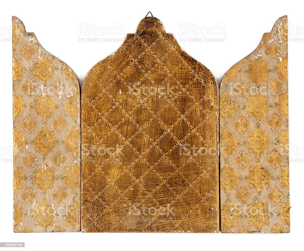 Back of Wooden Triptych stock photo