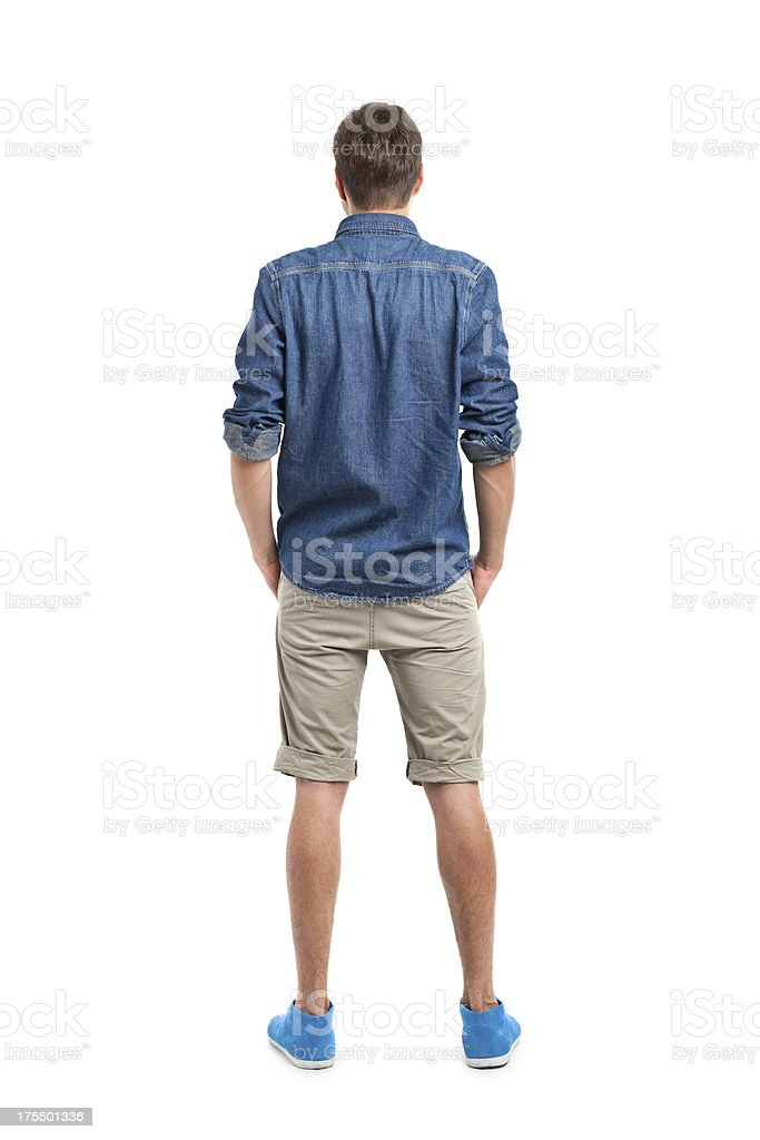 back of young handsome man in jeans shirt stock photo