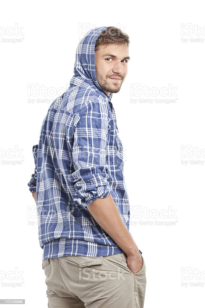 back of young handsome man in shorts royalty-free stock photo