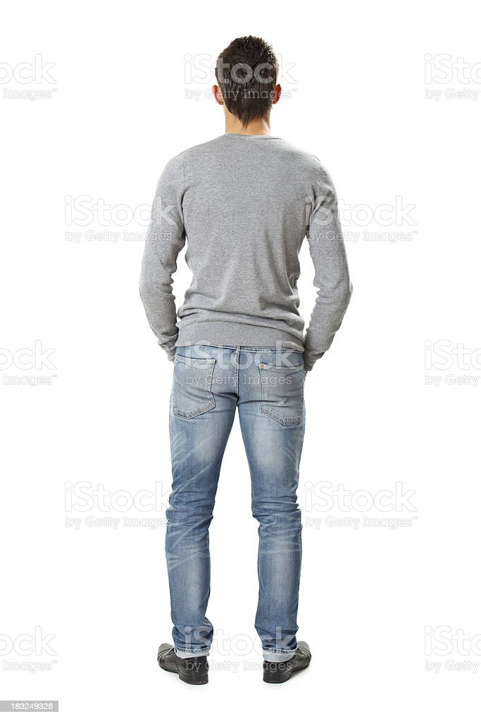 back of young handsome man stock photo