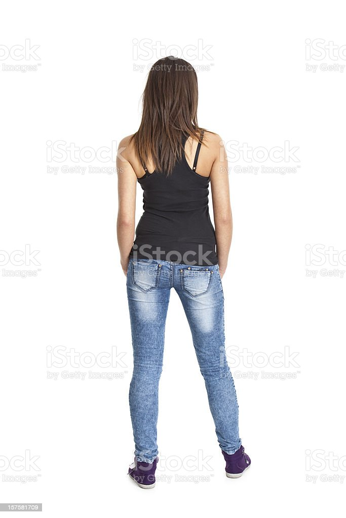 back of young woman stock photo
