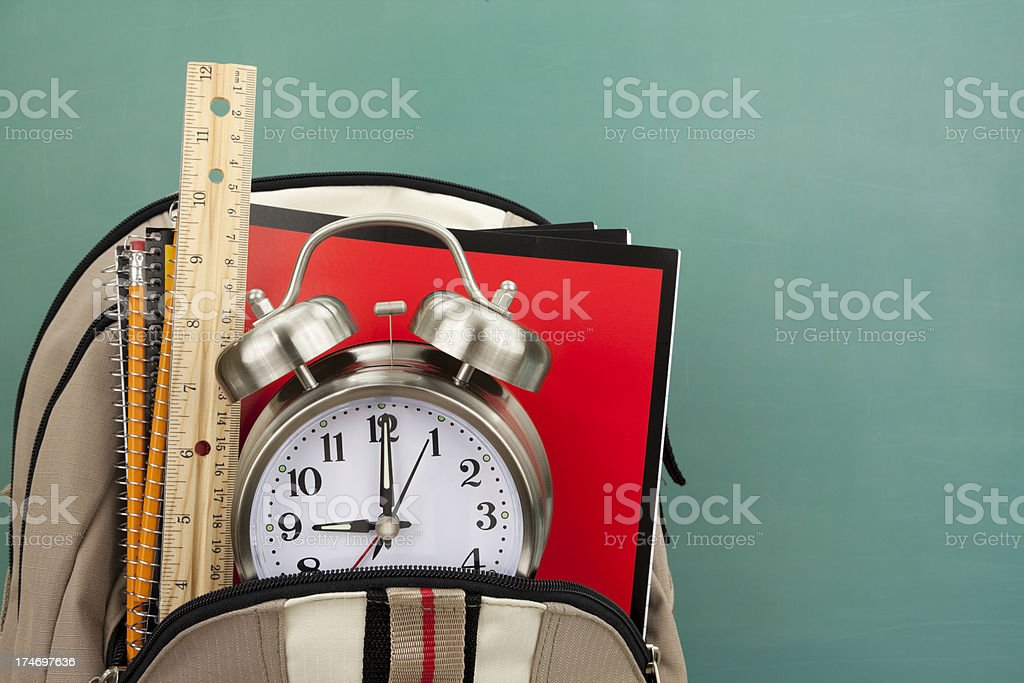 Back Pack, School Supplies, Alarm Clock and Chalkboard royalty-free stock photo
