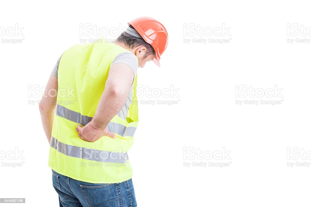 Back pain concept with constructor with torso injury stock photo