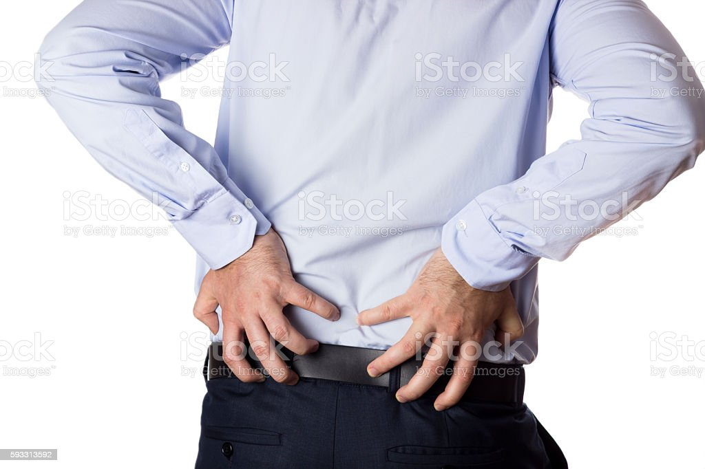 Back pain. stock photo