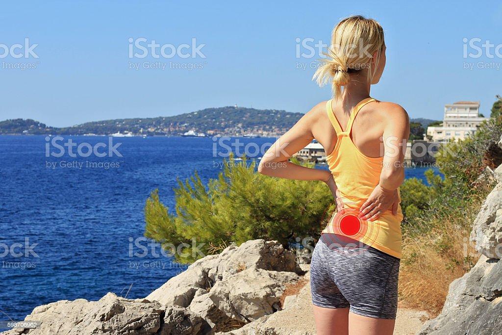 Back Pain.Sport injury. stock photo