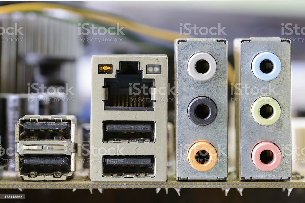 back panel connectors of the motherboard royalty-free stock photo