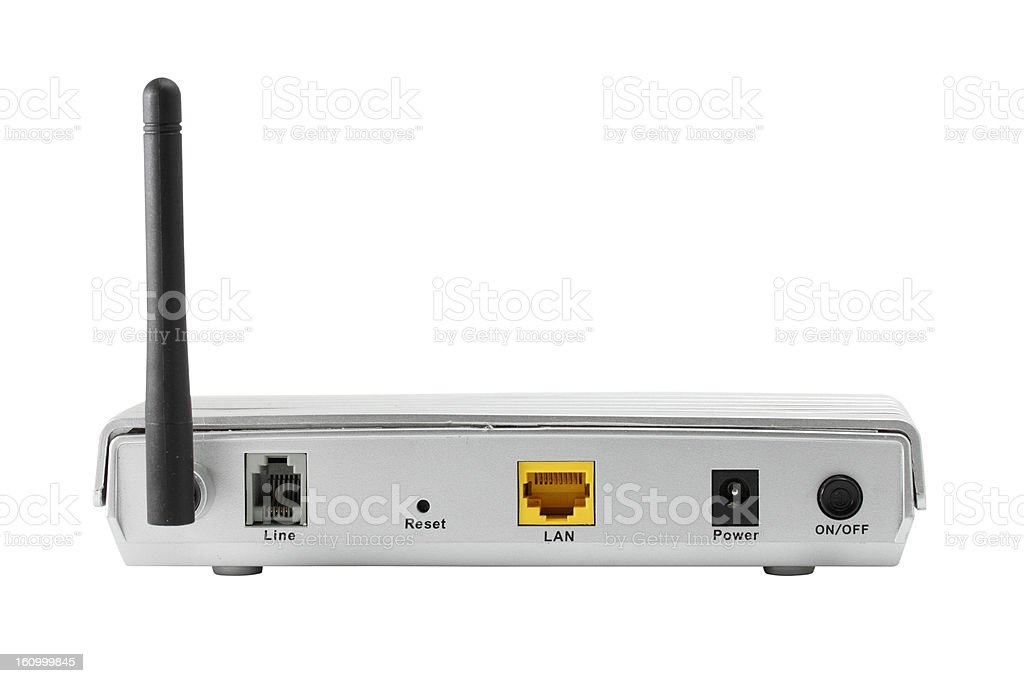 Back panel of wireless router isolate on white. royalty-free stock photo