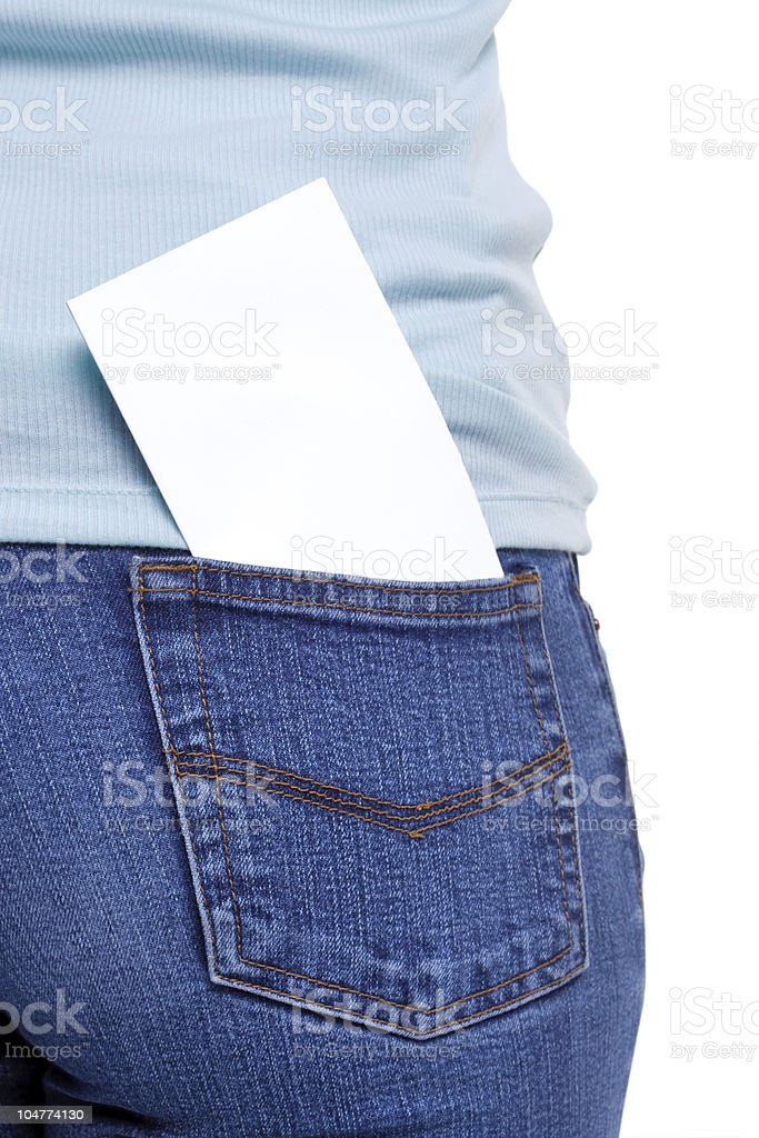 Back pocket with blank paper stock photo