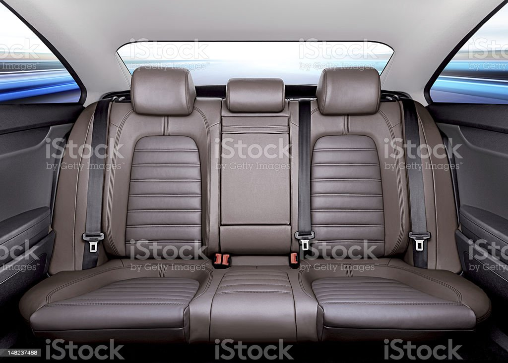 back seat in car stock photo