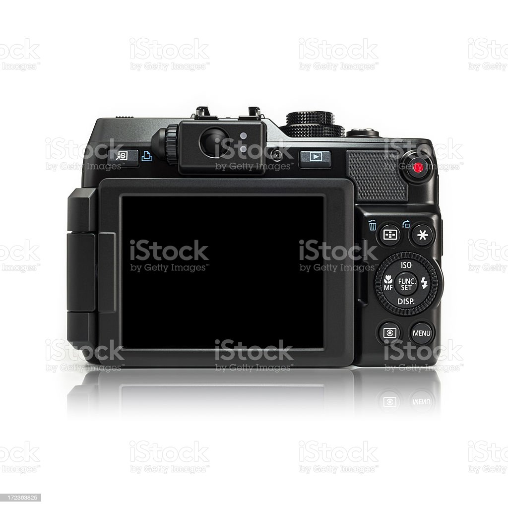 Back Side of a Point n Shoot Digital Camera stock photo