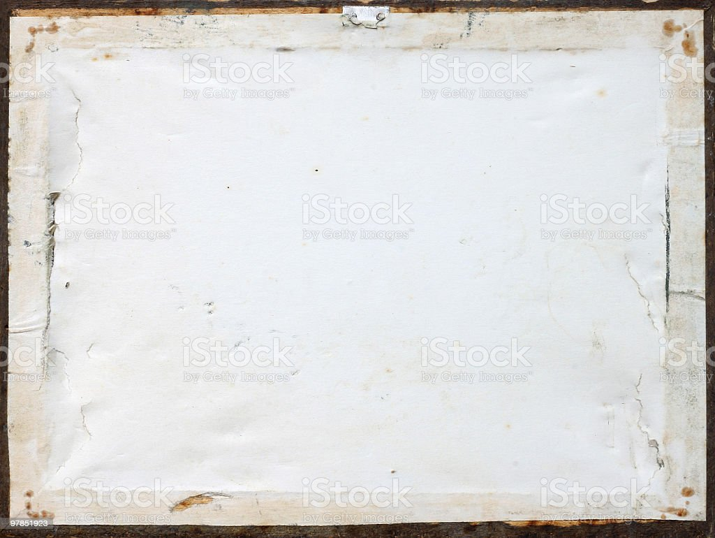 Back side of an old picture frame stock photo