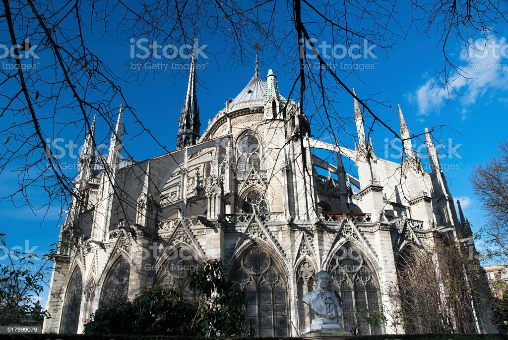 back side of Notre Dame stock photo