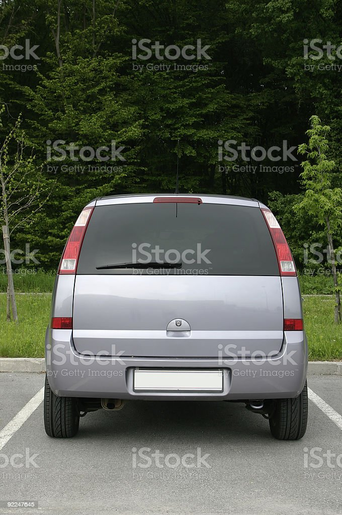 back side of small van stock photo
