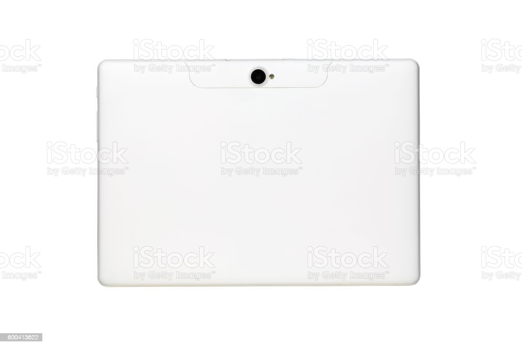 Back side of white tablet computer with camera lens and flash isolated on white background with clipping path stock photo