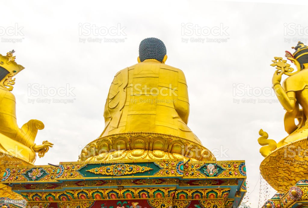 Back Side View of Statue of Buddha stock photo