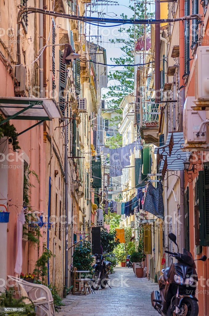 Back Streets of Old Corfu Town stock photo